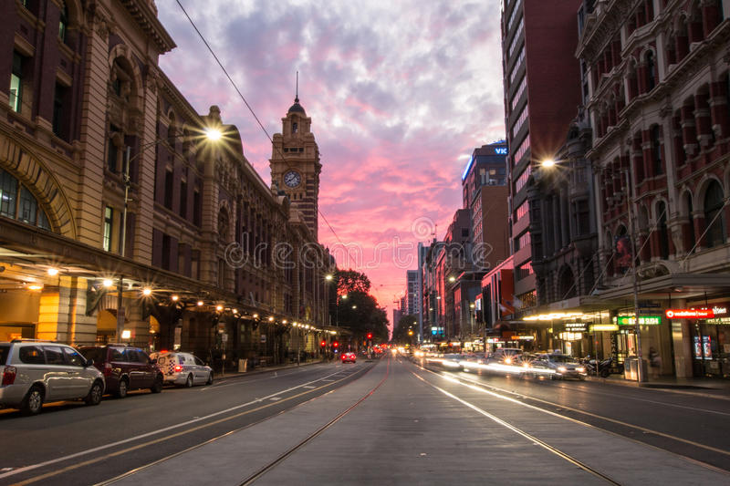Flinders street sunset city royalty free stock image