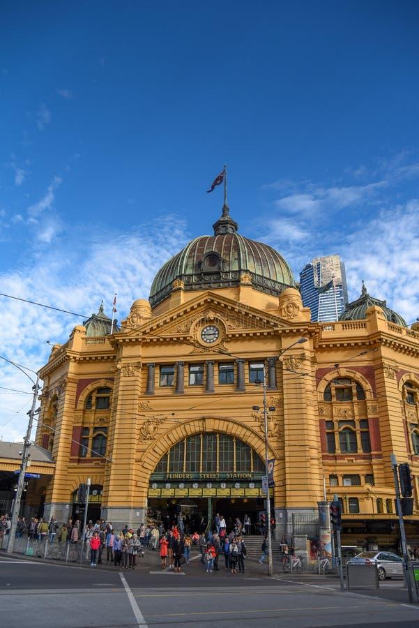 Flindersstraßenstation in Melbourne, Australien stockfotos
