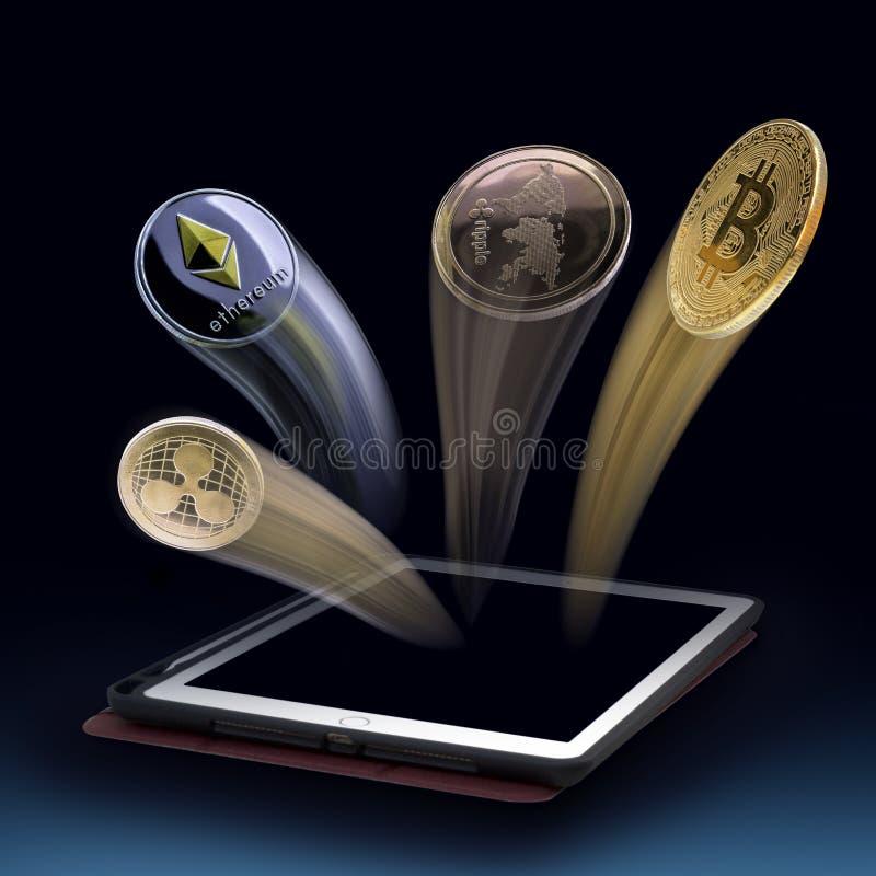 Fling della moneta di valuta di Digital dalla compressa concetto dei profitti bit immagine stock libera da diritti