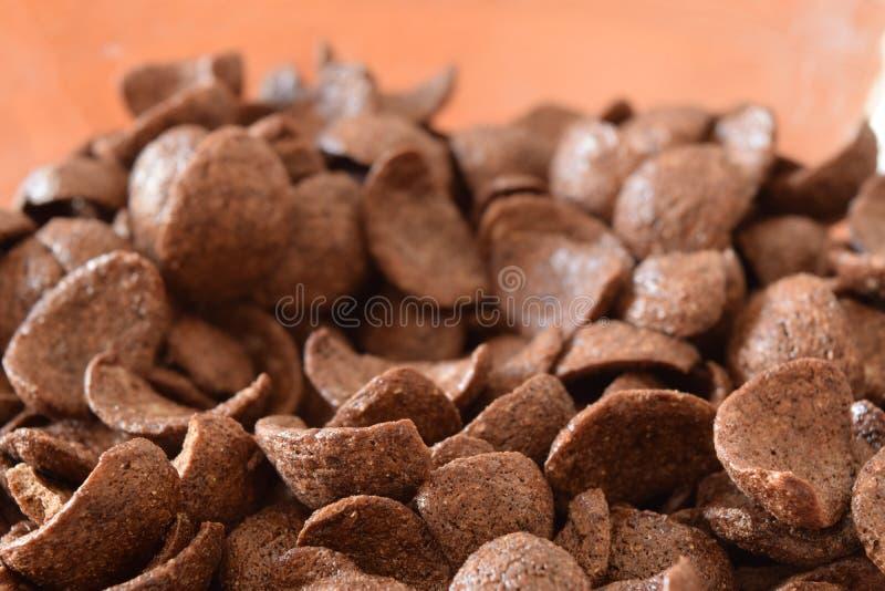 Flingor för frukostchokladhavre arkivbild