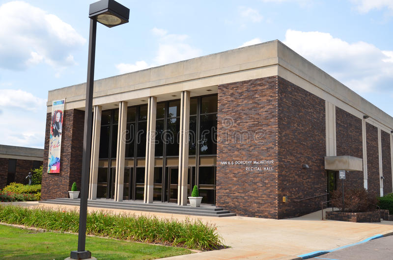 Flint McArthur Recital Hall. FLINT, MI - AUGUST 22: The McArthur Recital Hall in Flint, MI, shown here on August 22, 2015, houses the Flint Institute of Music royalty free stock photo