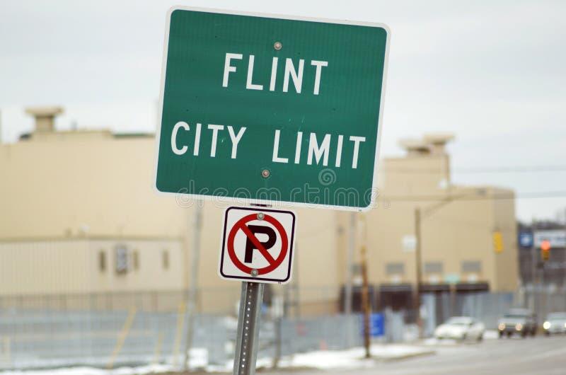 Flint, Michigan City Limit Sign royalty free stock photo