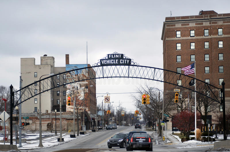 Flint, Michigan: Flint Vehicle City Sign. FLINT, MICHIGAN-January 23, 2016:Flint City Center with sign that reads: Flint Vehicle City in Downtown Flint, Michigan royalty free stock image