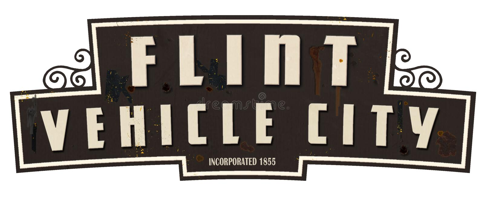 Flint Michigan Vehicle City Limits Sign Retro Vintage. Welcome to MI highway freeway old royalty free stock images