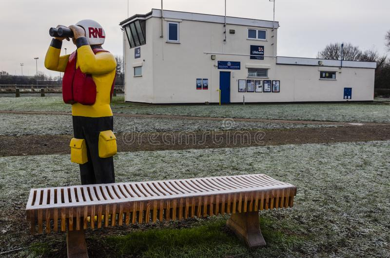 Frosty weather at Flint Lifeboat Station royalty free stock image