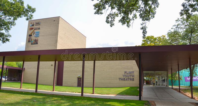 Flint Youth Theater. FLINT, MI - AUGUST 22: The Flint Youth Theater in Flint, MI, shown here on August 22, 2015, hosts drama classes for school-aged youth stock images