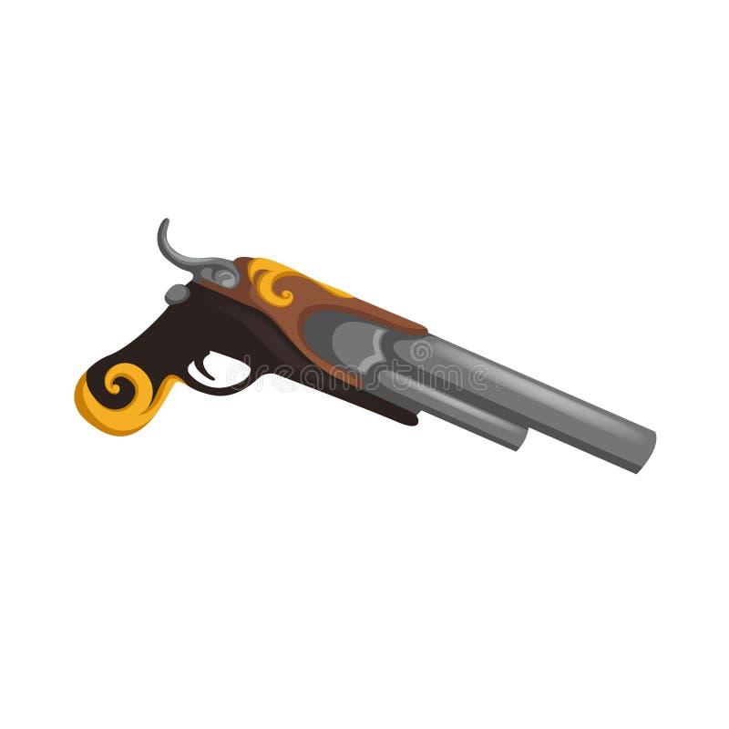 Flintlock geweer van het geschiedenis het oude musket De Amerikaanse piraat van het revolutiekanon Pistoolwijnoogst geïsoleerd de royalty-vrije illustratie