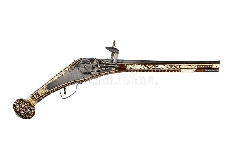 Flintlock & het slotpistool van het buskruitwiel royalty-vrije stock foto