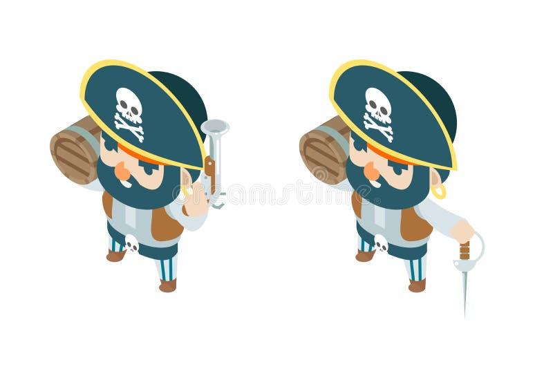 Flintlock van het pistool obstructie voert de zwarte poeder het schipzeerover van de zeeroverpiraat van de overzeese het spel van royalty-vrije illustratie