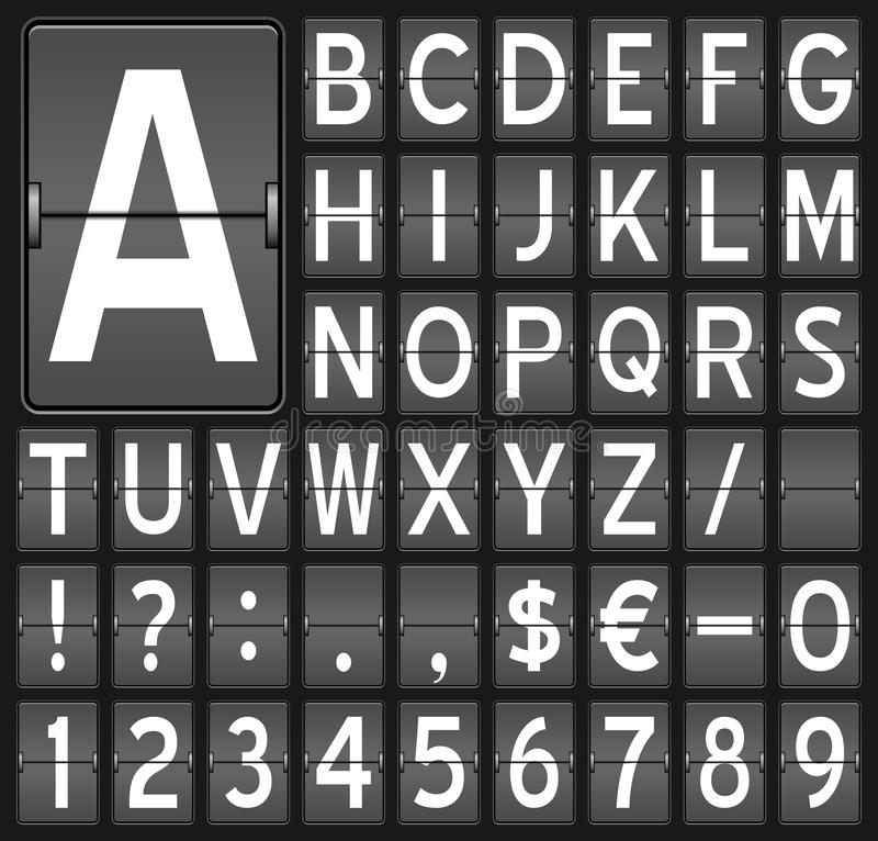 Flip Board Letters & Numbers royalty free illustration