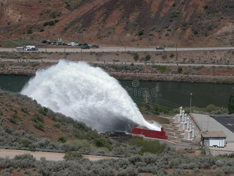 Flip-Bucket Spillway. A Flip-Bucket Spillway is located at Lucky Peak Reservoir near Boise, Idaho but is rarely used now royalty free stock photography