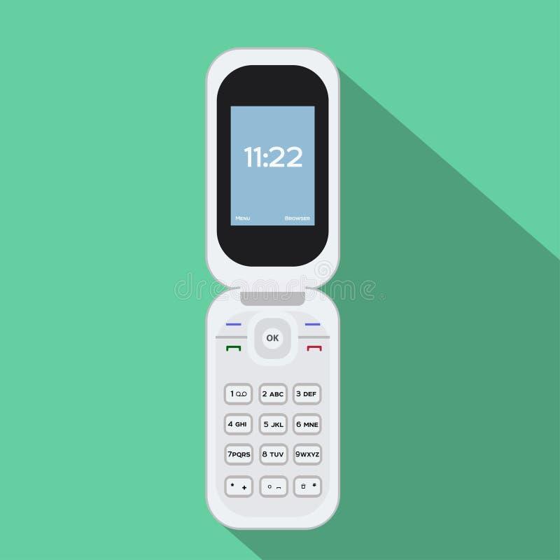 Flip Cellphone-Ikone Vektorillustration des tragbaren Geräts Flaches Artdesign mit langem Schatten stock abbildung
