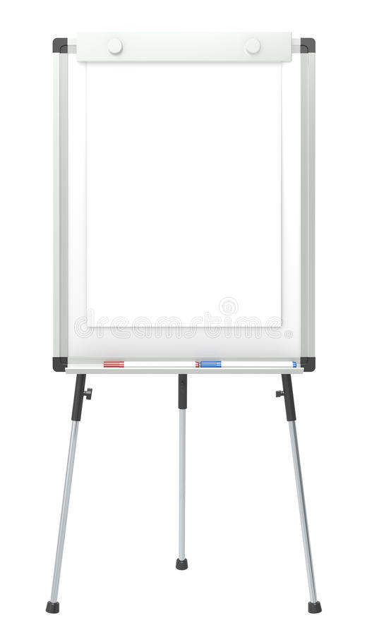 Flip Chart. Flip Chart and 2 marker pens. White for copy space. Isolated stock illustration