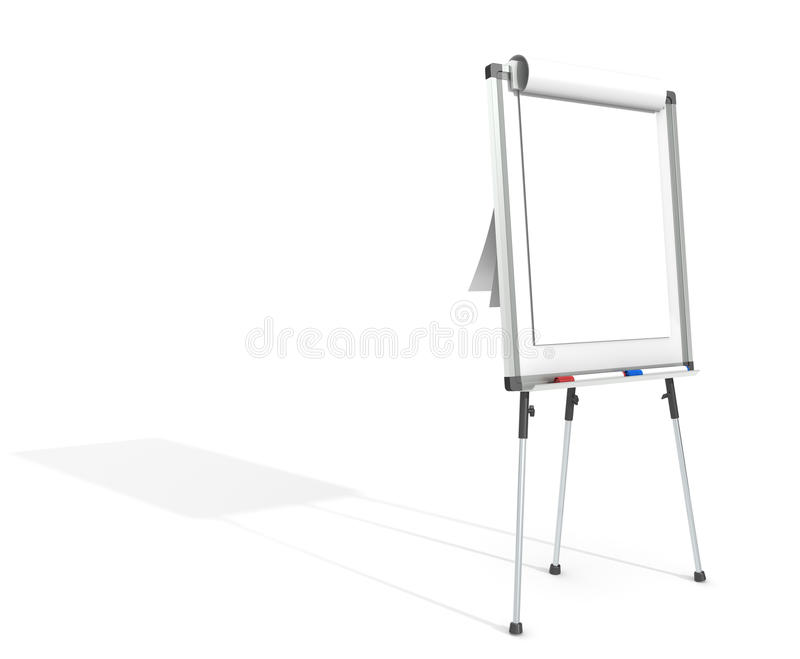 Flip Chart. Side view of a Flip Chart and 2 marker pens. White for copy space. Hard Shadow vector illustration