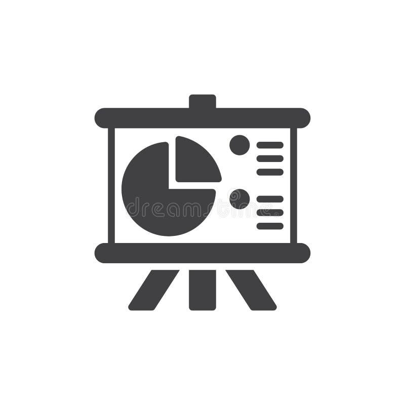 Flip Chart Board avec le vecteur d'icône de graphique circulaire, signe plat rempli, pictogramme solide d'isolement sur le blanc illustration stock