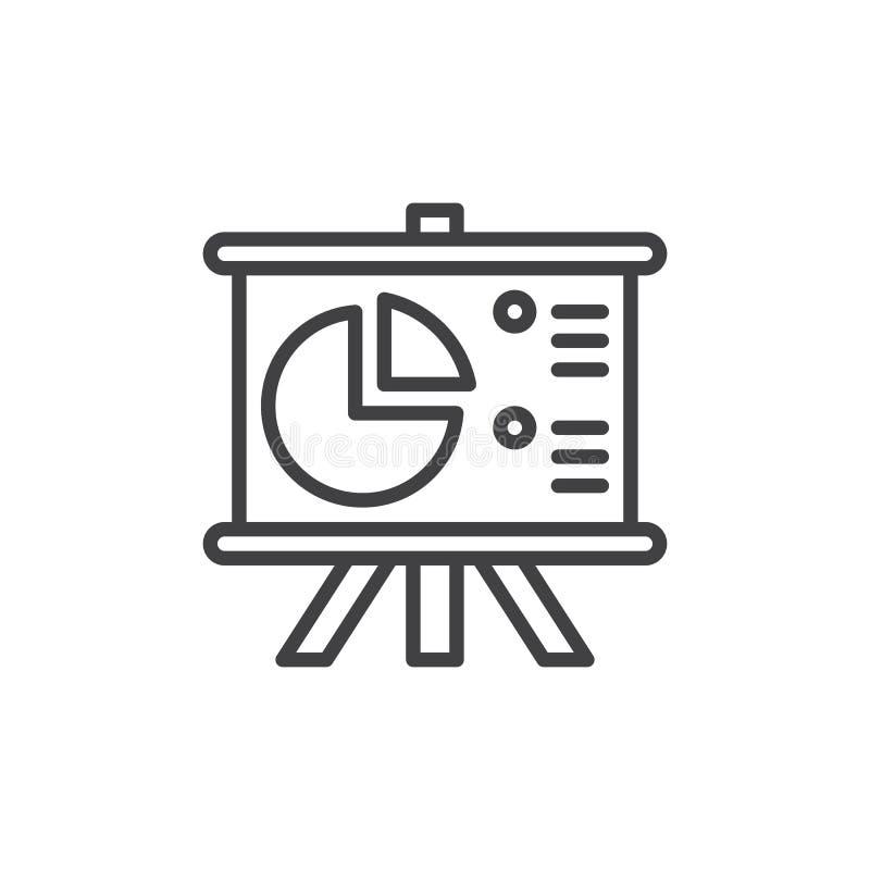 Flip Chart Board mit Kreisdiagrammlinie Ikone, Entwurfsvektorzeichen, lineares Artpiktogramm lokalisiert auf Weiß lizenzfreie abbildung