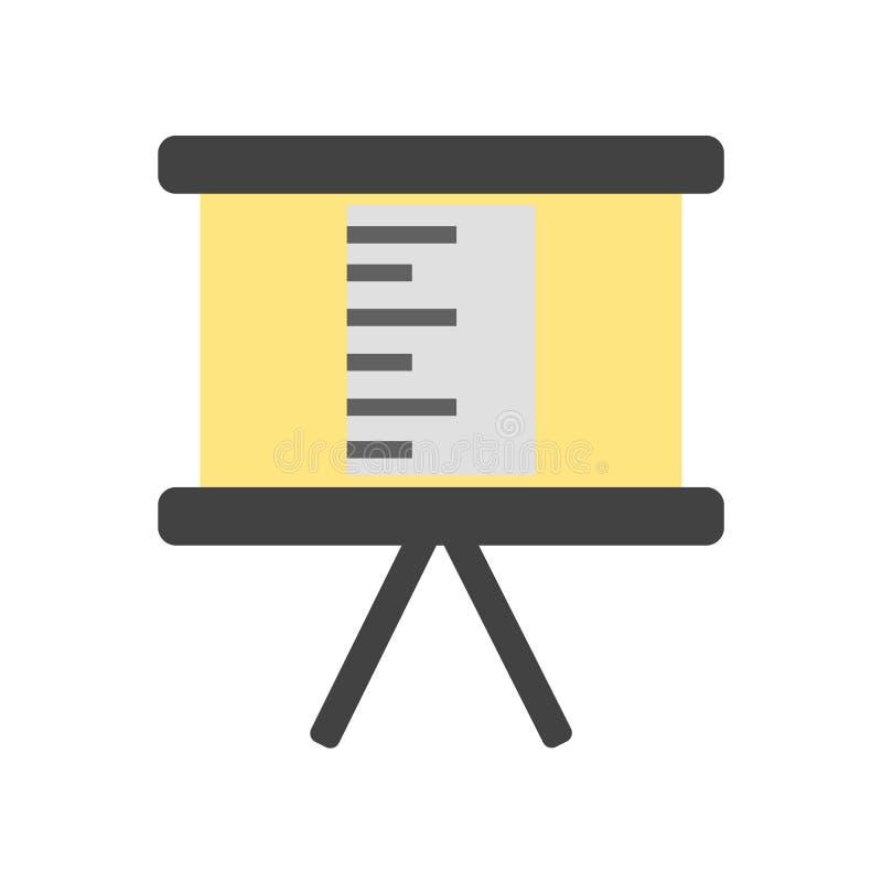 Flip-Chart Ikonenvektor lokalisiert auf weißem Hintergrund, Flip-Chart Zeichen, bunte Ausrüstungssymbole lizenzfreie abbildung