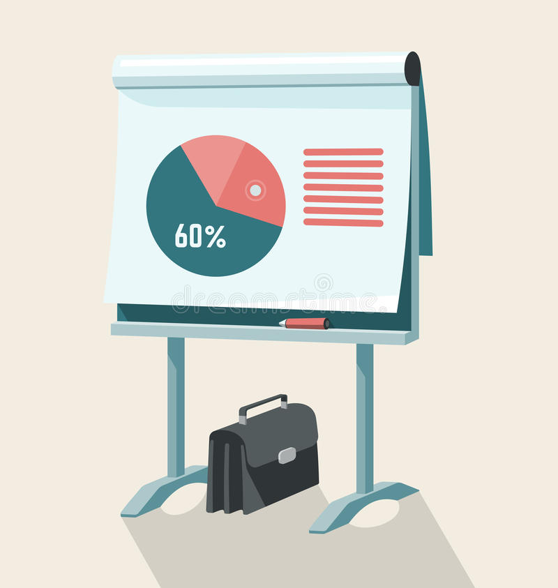 Flip Chart With Pie Graph vector illustratie