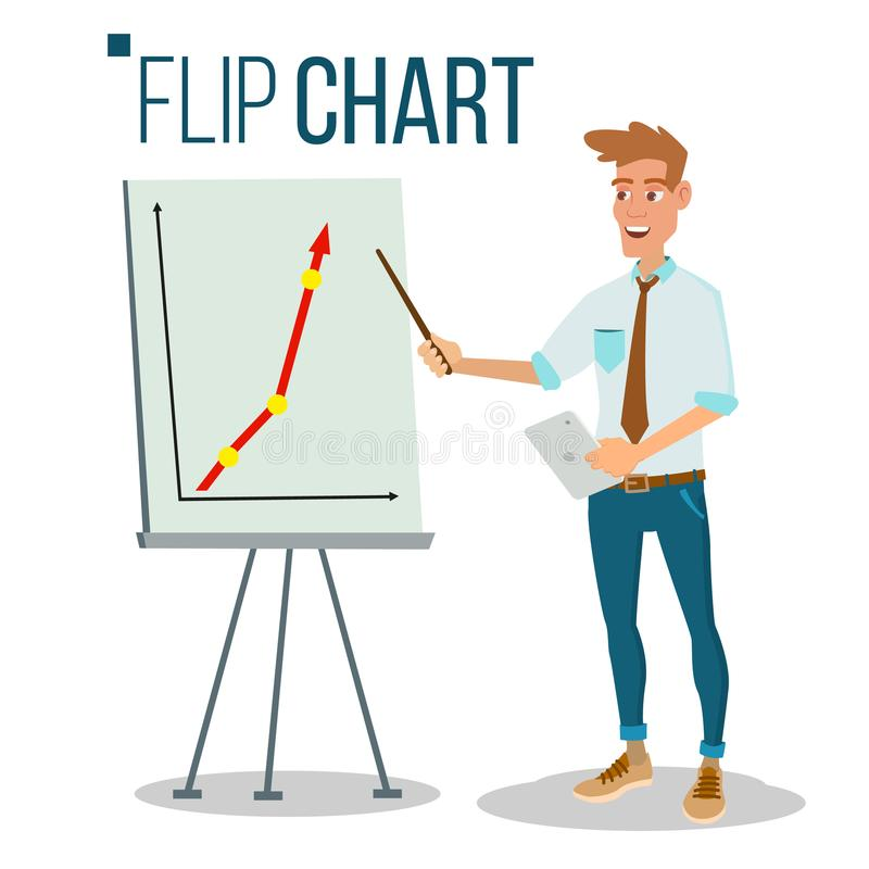 Flip Chart Seminar Concept Vector Homme montrant la présentation Illustration d'isolement par bande dessinée plate Graphique de r illustration libre de droits
