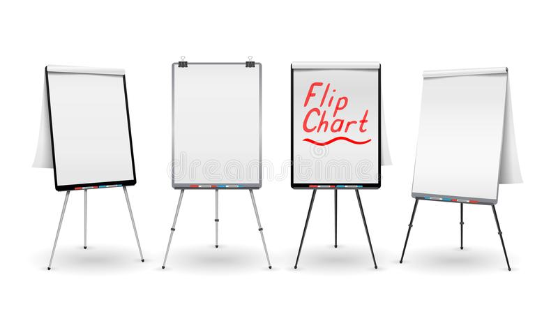 Flip Chart Set Vector. Office Whiteboard For Business Training. Blank Sheet Of Paper On a Tripod. Presentation Stand vector illustration