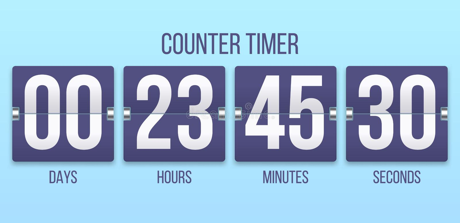 Flip clock timer. Countdown counter days, counting hours and minutes numbers. Flipclock timers vector illustration vector illustration