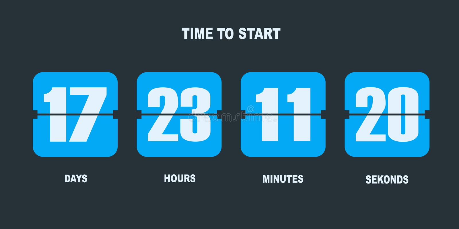 Flip countdown clock counter timer stock illustration