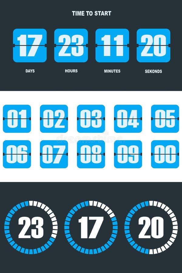 Flip countdown clock counter timer stock illustration