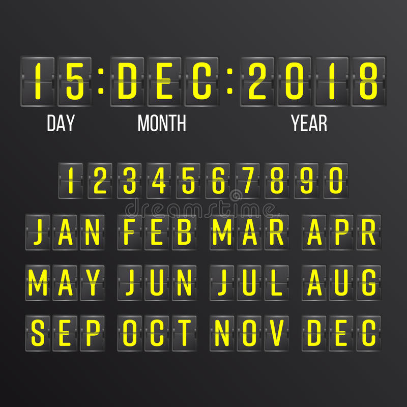 Flip Countdown Timer Vector. Black Flip Scoreboard Digital Calendar. Years, Months, Days. vector illustration