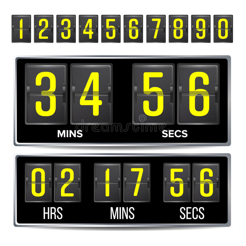 Flip Countdown Timer Vector. Black Flip Scoreboard Digital Timer Template. Hours, Minutes, Seconds. Isolated On White royalty free illustration