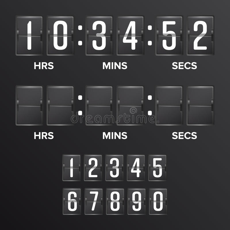 Flip Countdown Timer Vector Blanc noir analogue de minuterie de Digital de tableau indicateur Heures, minutes, secondes Illustrat illustration libre de droits