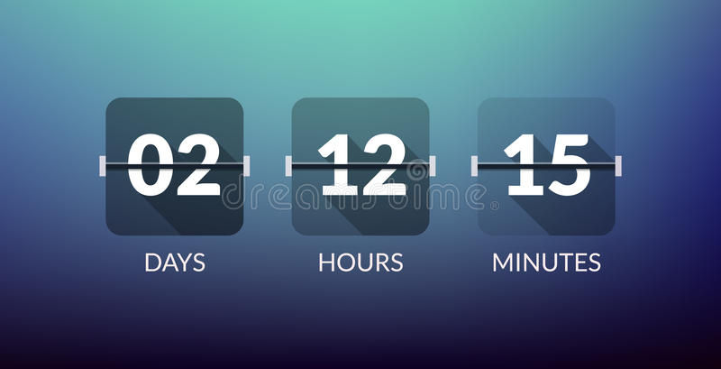 Flip Countdown timer vector clock counter. Flat count down day vector business sign vector illustration