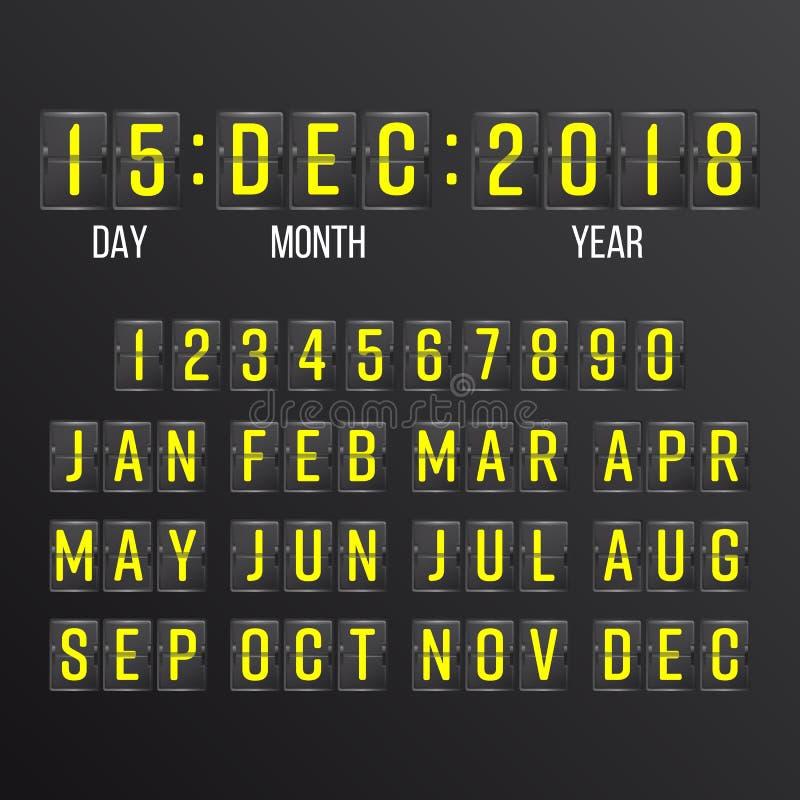 Flip Countdown Timer Vector Svarta Flip Scoreboard Digital Calendar År månader, dagar vektor illustrationer