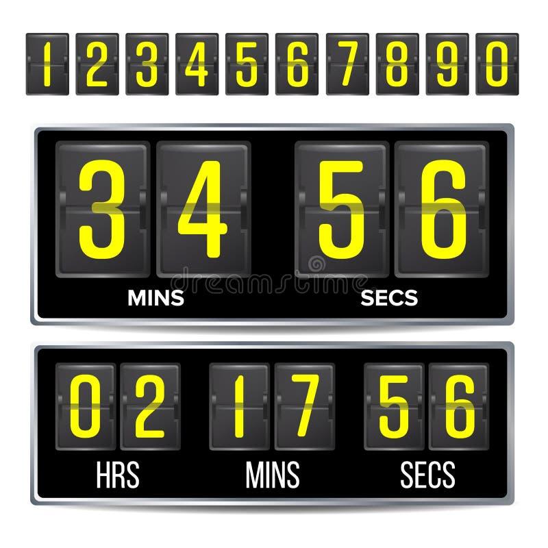 Flip Countdown Timer Vector Svarta Flip Scoreboard Digital Timer Template Timmar minuter, sekunder Isolerat på vit royaltyfri illustrationer