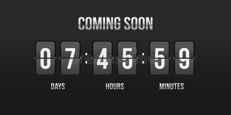 Flip countdown vector coming soon counter royalty free illustration