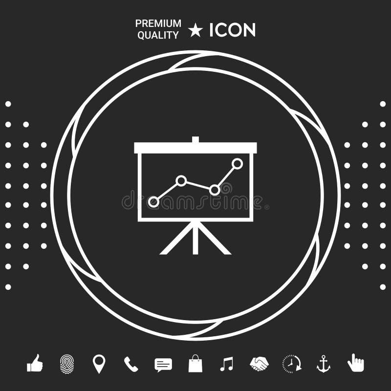 Flip-diagram projektionsskärm med en graf Grafiska beståndsdelar för din designt stock illustrationer