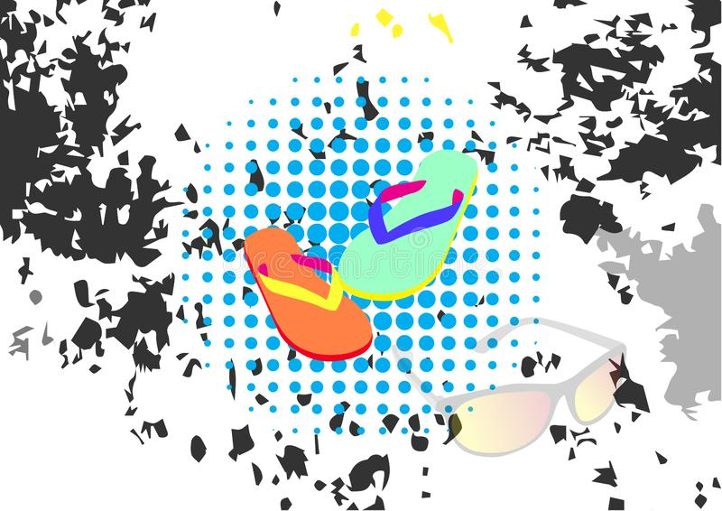 Flip-flop astratto del fondo nelle illustrazioni di vettore di stile di lerciume illustrazione di stock