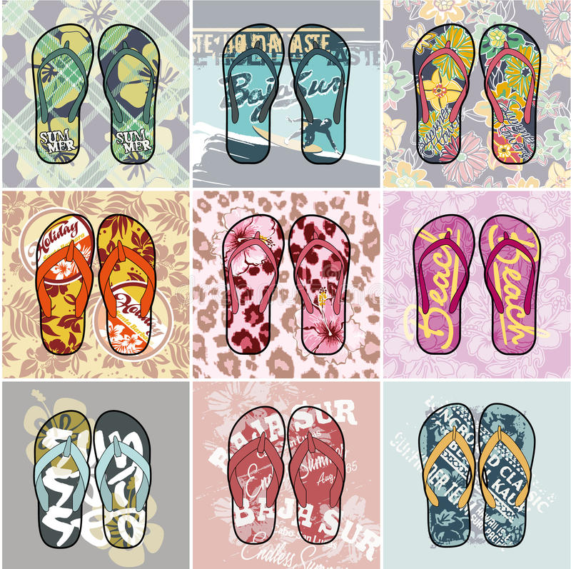 Download Flip Flop collection stock vector. Illustration of hawaiian - 41957795