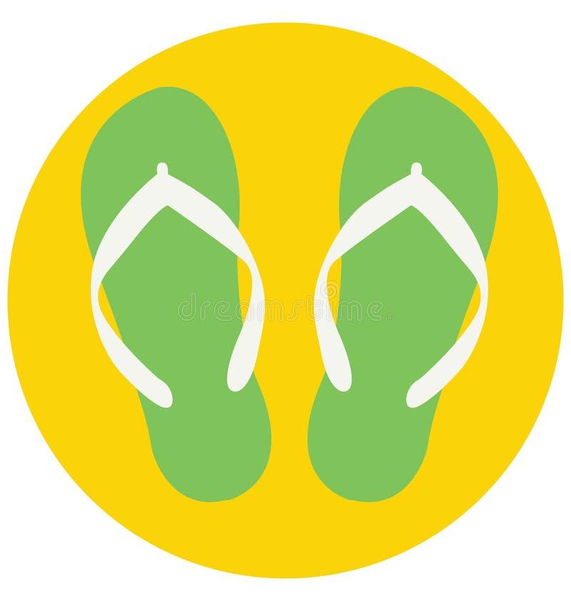 Flip Flop Color Isolated Vector symbol som kan lätt ändras eller redigera royaltyfri illustrationer