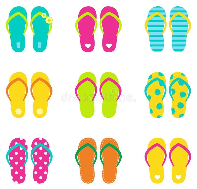 Flip-flop di estate fissati isolati su bianco illustrazione di stock