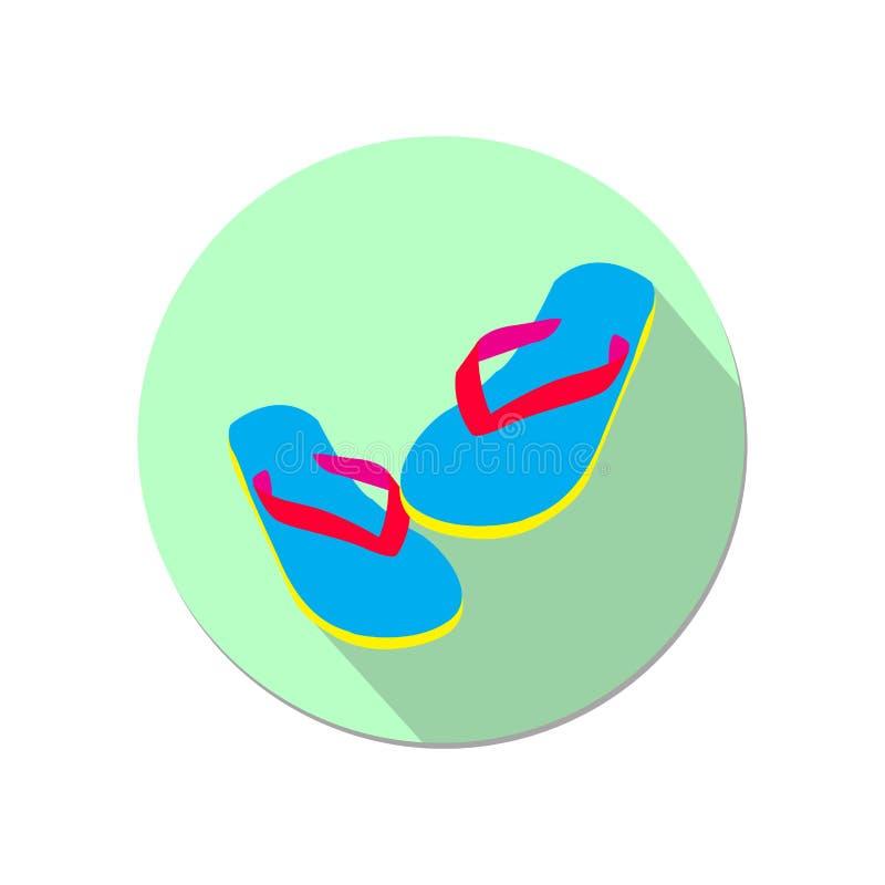 Flip Flop Flat Icon con le illustrazioni lunghe di vettore dell'ombra illustrazione vettoriale
