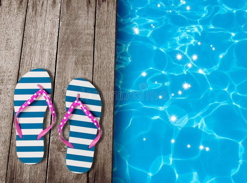 Flip Flop Sandals On Old Wooden Boards Near Swimming Pool ...