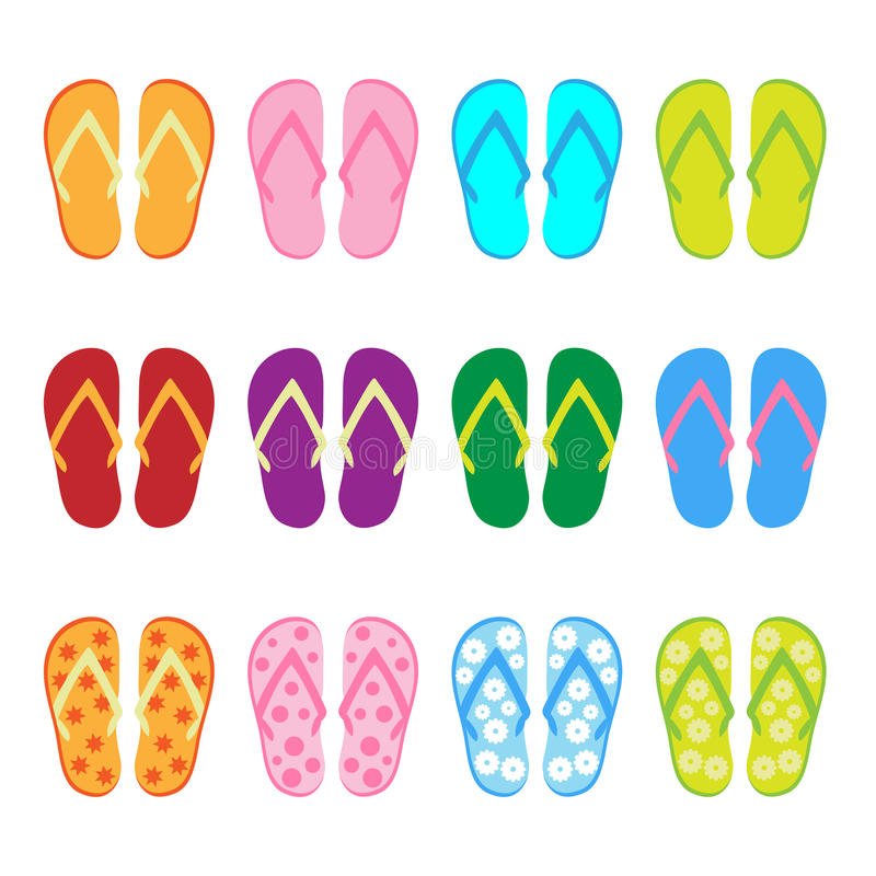 Flip flop - set vector illustration