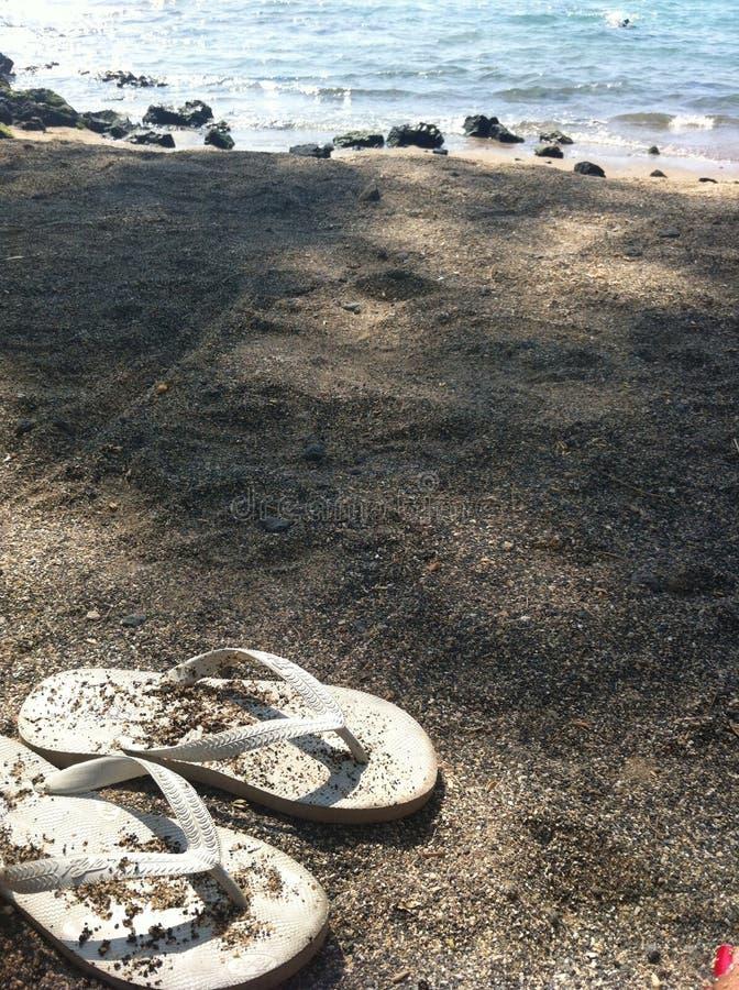 Flip-flop su una spiaggia sabbiosa in Hawai fotografia stock libera da diritti