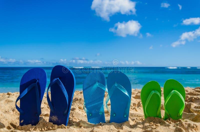 Flip-flop variopinti sulla spiaggia sabbiosa fotografia stock