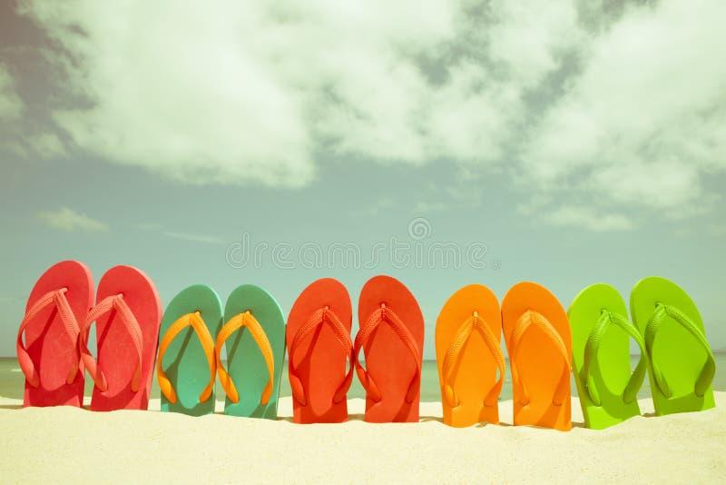 Flip-flop variopinto sulla spiaggia sabbiosa, sul mare verde e sul cielo blu immagini stock libere da diritti