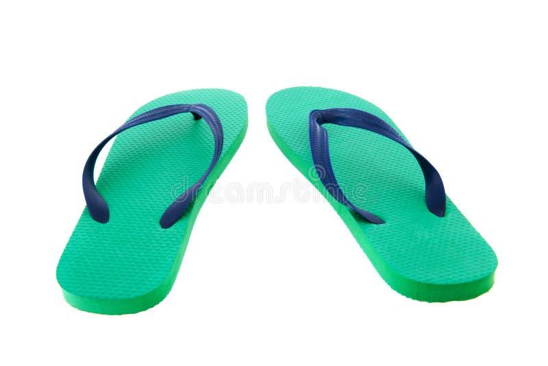 Flip-flop verdi e blu fotografia stock