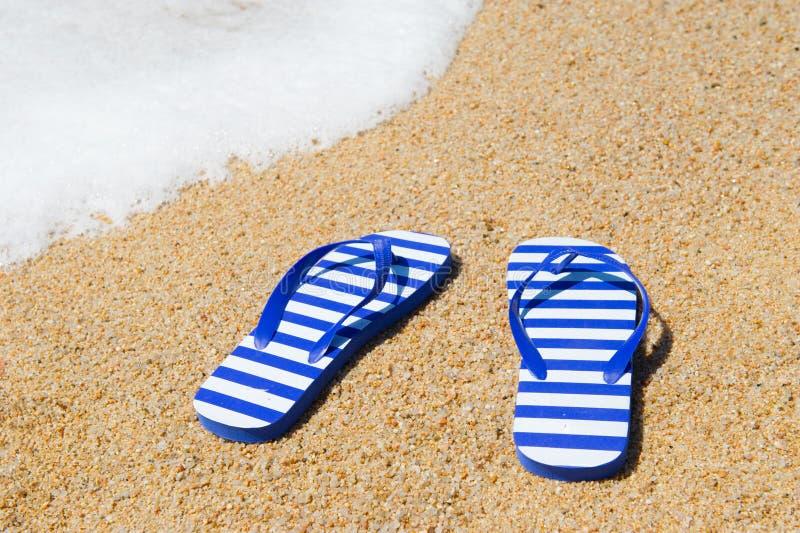 Flip Flops At Beach Royalty Free Stock Image