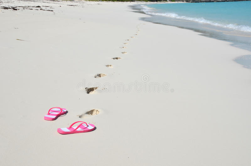 Flip-flops on the beach. Bahamas stock image