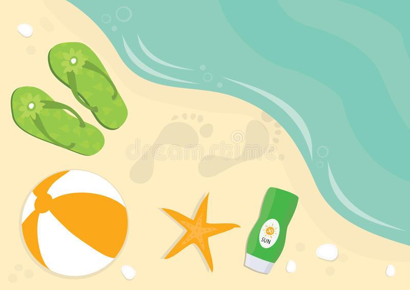 Flip flops, beach ball and sun cream at the beach. Flip flops, beach ball, foot prints and sun cream at the beach royalty free illustration