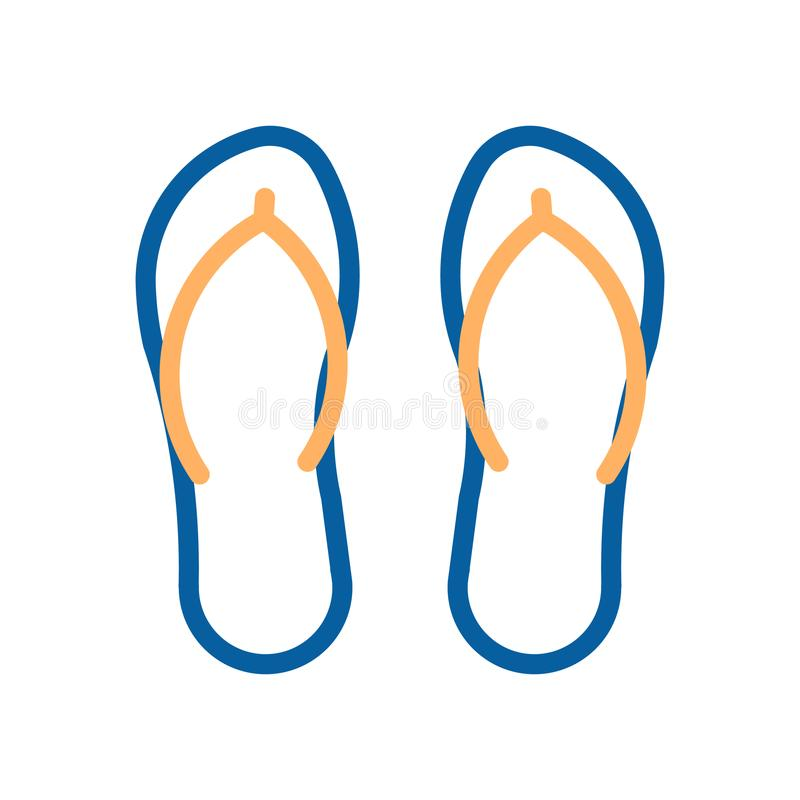 Flip flops beach footwear icon. Vector thin line illustration. Beach and swimming pool sandals vector illustration